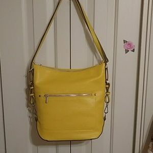 A new day, yellow shoulder bag